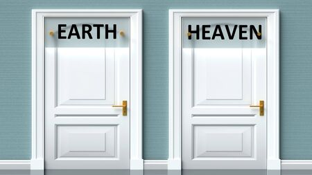Earth and heaven as a choice - pictured as words Earth, heaven on doors to show that Earth and heaven are opposite options while making decision, 3d illustration 写真素材