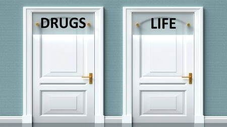 Drugs and life as a choice - pictured as words Drugs, life on doors to show that Drugs and life are opposite options while making decision, 3d illustration