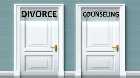 Divorce and counseling as a choice - pictured as words Divorce, counseling on doors to show that Divorce and counseling are opposite options while making decision, 3d illustration 写真素材
