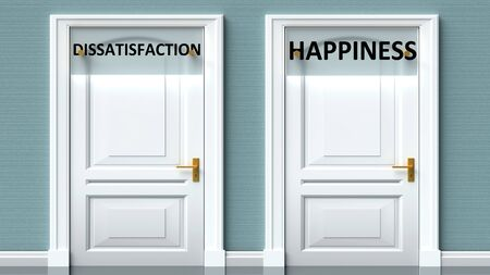 Dissatisfaction and happiness as a choice - pictured as words Dissatisfaction, happiness on doors to show that Dissatisfaction and happiness are opposite options while making decision, 3d illustration Foto de archivo