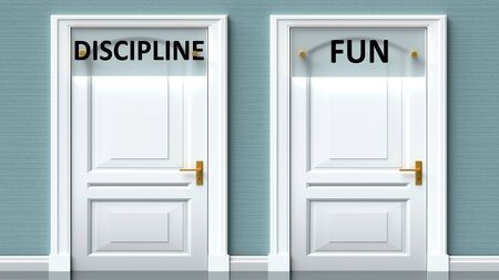 Discipline and fun as a choice - pictured as words Discipline, fun on doors to show that Discipline and fun are opposite options while making decision, 3d illustration