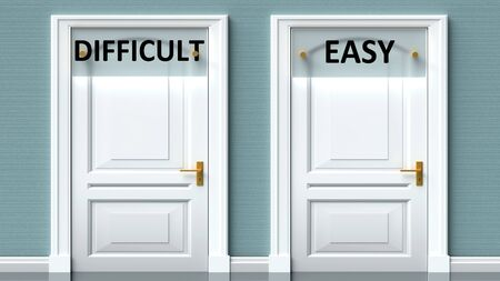 Difficult and easy as a choice - pictured as words Difficult, easy on doors to show that Difficult and easy are opposite options while making decision, 3d illustration