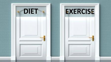 Diet and exercise as a choice - pictured as words Diet, exercise on doors to show that Diet and exercise are opposite options while making decision, 3d illustration