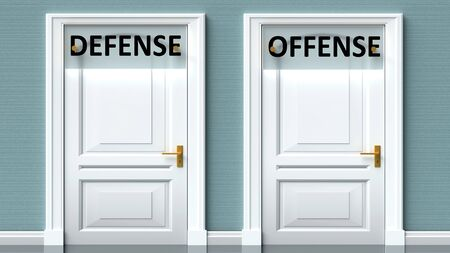 Defense and offense as a choice - pictured as words Defense, offense on doors to show that Defense and offense are opposite options while making decision, 3d illustration 写真素材