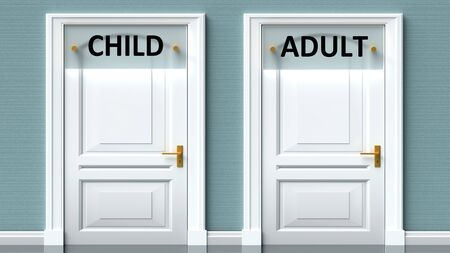 Child and adult as a choice - pictured as words Child, adult on doors to show that Child and adult are opposite options while making decision, 3d illustration