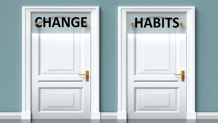 Change and habits as a choice - pictured as words Change, habits on doors to show that Change and habits are opposite options while making decision, 3d illustration