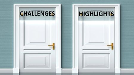Challenges and highlights as a choice - pictured as words Challenges, highlights on doors to show that Challenges and highlights are opposite options while making decision, 3d illustration