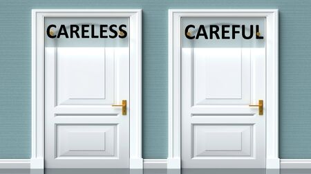 Careless and careful as a choice - pictured as words Careless, careful on doors to show that Careless and careful are opposite options while making decision, 3d illustration