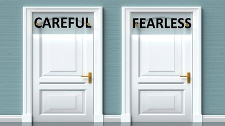 Careful and fearless as a choice - pictured as words Careful, fearless on doors to show that Careful and fearless are opposite options while making decision, 3d illustration