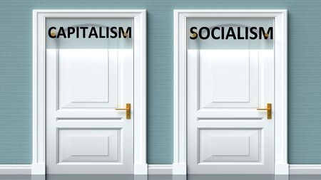 Capitalism and socialism as a choice - pictured as words Capitalism, socialism on doors to show that Capitalism and socialism are opposite options while making decision, 3d illustration