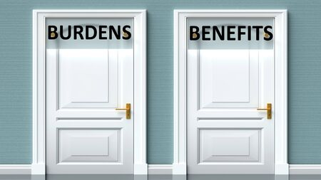 Burdens and benefits as a choice - pictured as words Burdens, benefits on doors to show that Burdens and benefits are opposite options while making decision, 3d illustration