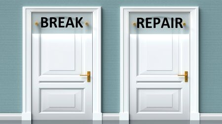 Break and repair as a choice - pictured as words Break, repair on doors to show that Break and repair are opposite options while making decision, 3d illustration