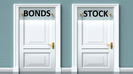 Bonds and stock as a choice - pictured as words Bonds, stock on doors to show that Bonds and stock are opposite options while making decision, 3d illustration