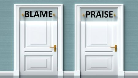 Blame and praise as a choice - pictured as words Blame, praise on doors to show that Blame and praise are opposite options while making decision, 3d illustration
