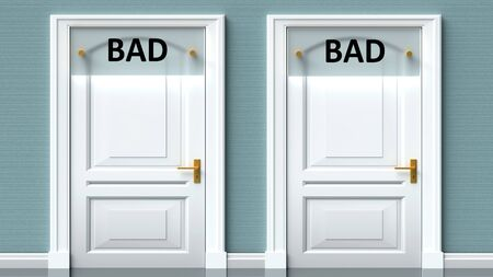 Bad and bad as a choice - pictured as words Bad, bad on doors to show that Bad and bad are opposite options while making decision, 3d illustration 写真素材