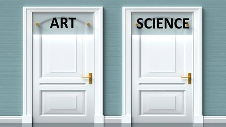 Art and science as a choice - pictured as words Art, science on doors to show that Art and science are opposite options while making decision, 3d illustration 写真素材