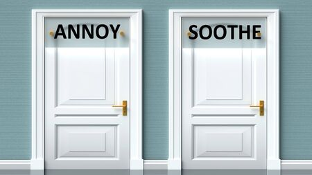 Annoy and soothe as a choice - pictured as words Annoy, soothe on doors to show that Annoy and soothe are opposite options while making decision, 3d illustration 写真素材