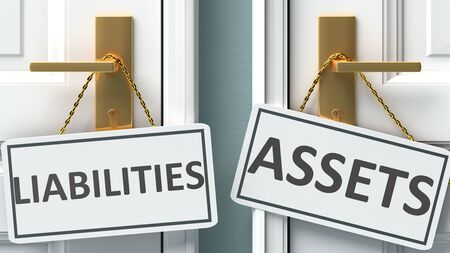 Liabilities or assets as a choice in life - pictured as words Liabilities, assets on doors to show that Liabilities and assets are different options to choose from, 3d illustration