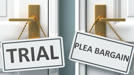 Trial or plea bargain as a choice in life - pictured as words Trial, plea bargain on doors to show that Trial and plea bargain are different options to choose from, 3d illustration
