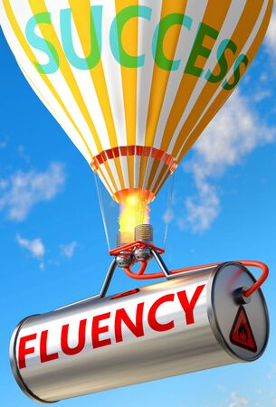 Fluency and success - pictured as word Fluency and a balloon, to symbolize that Fluency can help achieving success and prosperity in life and business, 3d illustration