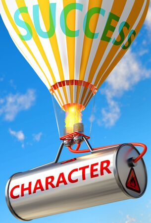 Character and success - pictured as word Character and a balloon, to symbolize that Character can help achieving success and prosperity in life and business, 3d illustration Banco de Imagens