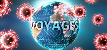 Voyages and covid virus, symbolized by viruses and word Voyages to symbolize that corona virus have gobal negative impact on  Voyages or can cause it, 3d illustration Stok Fotoğraf