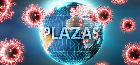 Plazas and covid virus, symbolized by viruses and word Plazas to symbolize that corona virus have gobal negative impact on  Plazas or can cause it, 3d illustration Stok Fotoğraf