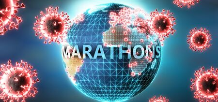 Marathons and covid virus, symbolized by viruses and word Marathons to symbolize that corona virus have gobal negative impact on  Marathons or can cause it, 3d illustration Stok Fotoğraf