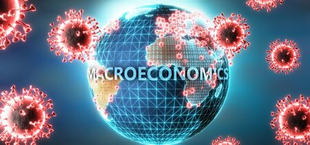 Macroeconomics and covid virus, symbolized by viruses and word Macroeconomics to symbolize that corona virus have gobal negative impact on  Macroeconomics or can cause it, 3d illustration Stok Fotoğraf