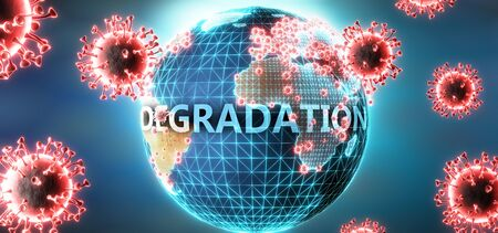 Degradation and covid virus, symbolized by viruses and word Degradation to symbolize that corona virus have gobal negative impact on  Degradation or can cause it, 3d illustration Stok Fotoğraf