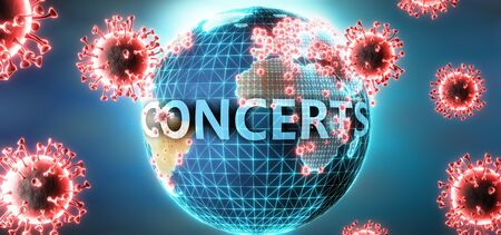 Concerts and covid virus, symbolized by viruses and word Concerts to symbolize that corona virus have gobal negative impact on  Concerts or can cause it, 3d illustration