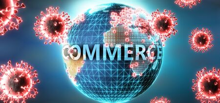 Commerce and covid virus, symbolized by viruses and word Commerce to symbolize that corona virus have gobal negative impact on  Commerce or can cause it, 3d illustration