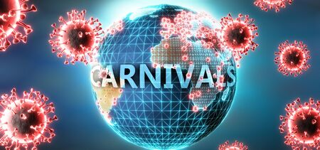 Carnivals and covid virus, symbolized by viruses and word Carnivals to symbolize that corona virus have gobal negative impact on  Carnivals or can cause it, 3d illustration Stok Fotoğraf