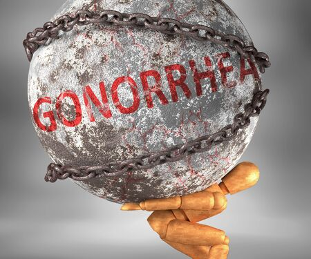 Gonorrhea and hardship in life - pictured by word Gonorrhea as a heavy weight on shoulders to symbolize Gonorrhea as a burden, 3d illustration