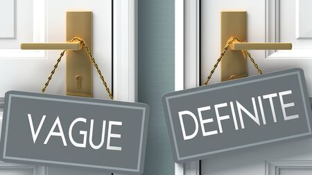 definite or vague as a choice in life - pictured as words vague, definite on doors to show that vague and definite are different options to choose from, 3d illustration