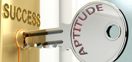 Aptitude and success - pictured as word Aptitude on a key, to symbolize that Aptitude helps achieving success and prosperity in life and business, 3d illustration