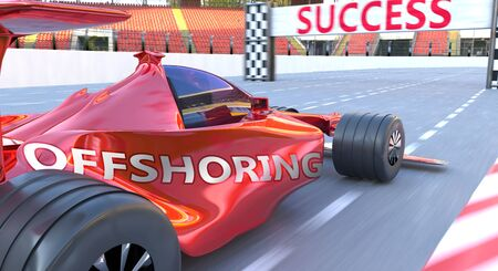 Offshoring and success - pictured as word Offshoring and a formula car, to symbolize that Offshoring can help achieving success and prosperity in life and business, 3d illustration