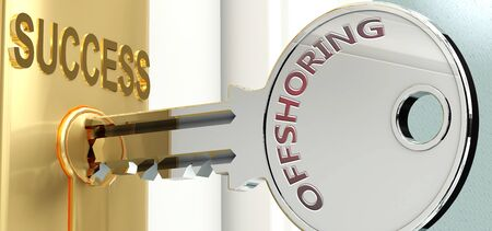 Offshoring and success - pictured as word Offshoring on a key, to symbolize that Offshoring helps achieving success and prosperity in life and business, 3d illustration