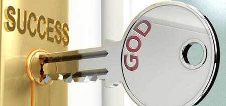 God and success - pictured as word God on a key, to symbolize that God helps achieving success and prosperity in life and business, 3d illustration