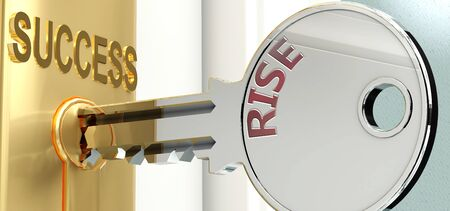 Rise and success - pictured as word Rise on a key, to symbolize that Rise helps achieving success and prosperity in life and business, 3d illustration