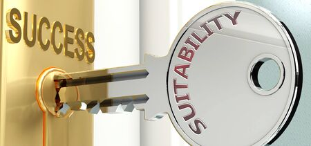 Suitability and success - pictured as word Suitability on a key, to symbolize that Suitability helps achieving success and prosperity in life and business, 3d illustration