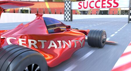 Certainty and success - pictured as word Certainty and car, to symbolize that Certainty can help achieving success and prosperity in life and business, 3d illustration