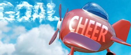 Cheer helps achieve a goal - pictured as word Cheer in clouds, to symbolize that Cheer can help achieving goal in life and business, 3d illustration