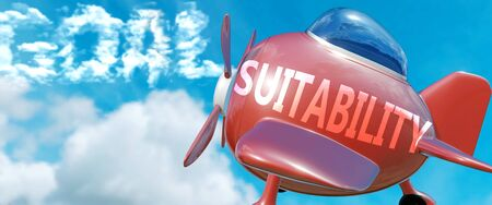 Suitability helps achieve a goal - pictured as word Suitability in clouds, to symbolize that Suitability can help achieving goal in life and business, 3d illustration Stock fotó