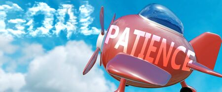 Patience helps achieve a goal - pictured as word Patience in clouds, to symbolize that Patience can help achieving goal in life and business, 3d illustration