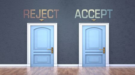 Reject and accept as a choice - pictured as words Reject, accept on doors to show that Reject and accept are opposite options while making decision, 3d illustration