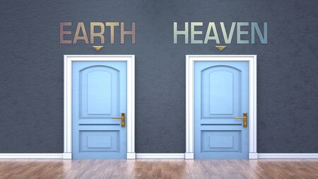 Earth and heaven as a choice - pictured as words Earth, heaven on doors to show that Earth and heaven are opposite options while making decision, 3d illustration Foto de archivo