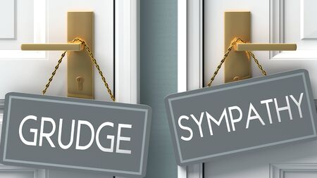 sympathy or grudge as a choice in life - pictured as words grudge, sympathy on doors to show that grudge and sympathy are different options to choose from, 3d illustration 版權商用圖片