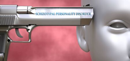 Schizotypal personality disorder can be dangerous - pictured as word Schizotypal personality disorder on a pistol terrorizing a person to show that it can be unsafe or unhealthy, 3d illustration