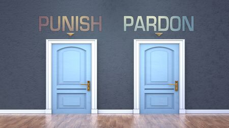 Punish and pardon as a choice - pictured as words Punish, pardon on doors to show that Punish and pardon are opposite options while making decision, 3d illustration